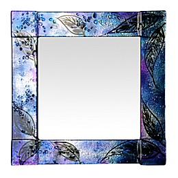 Jasmine Art Glass Midnight Leaves 14-Inch Square Mirror in Blue/Puple