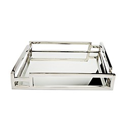 Classic Touch Layered Loop 11.75-Inch Mirrored Tray in Stainless Steel
