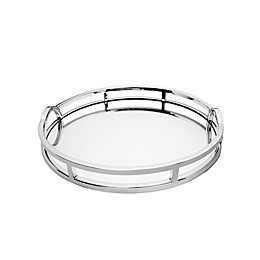 Classic Touch Modern Loop 15-Inch Mirrored Tray in Stainless Steel