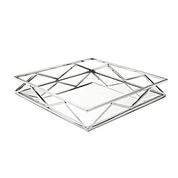 Classic Touch V-Design 15.75-Inch Mirrored Tray in Stainless Steel