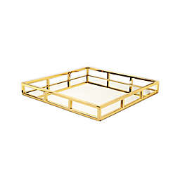 Classic Touch 15.75-Inch Square Mirrored Tray in Gold
