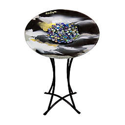 Jasmine Art Glass 20-Inch Round Fused Glass Cafe Table