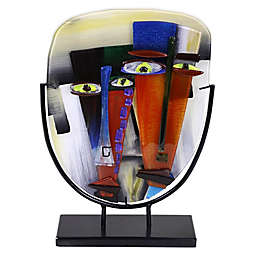 Jasmine Art Glass Two Faces Oval Sculpture