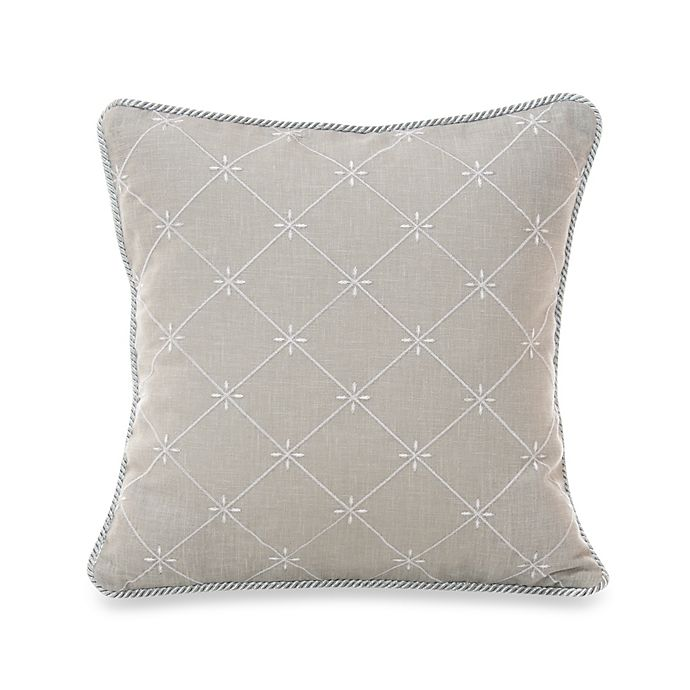 Glenna Jean Starlight Embroidered Throw Pillow In Grey
