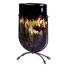 Jasmine Art Glass Golden Contrast 9-Inch Mini U-Shaped Vase