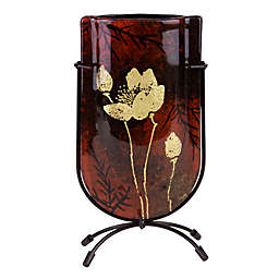 Jasmine Art Glass Gold Flower 9-Inch Mini U-Shaped Vase