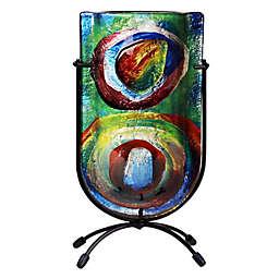Jasmine Art Glass Circles of Color 9-Inch Mini U-Shaped Vase