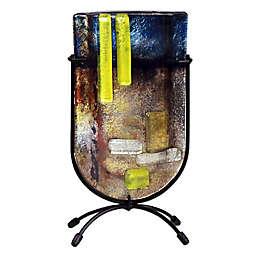 Jasmine Art Glass Strike of Color 9-Inch Mini U-Shaped Vase