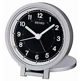 Seiko Round Travel Analog Alarm Clock in Black/Silver