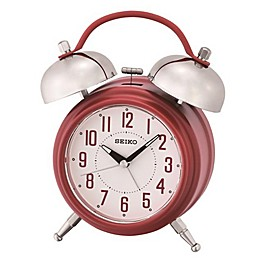 Seiko Twin Bells Alarm Clock in White/Red