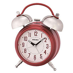 Seiko Twin Bells Alarm Clock in White/Red