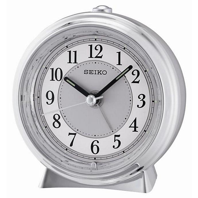 Alternate image 1 for Seiko Quiet Sweep Alarm Clock in Silver