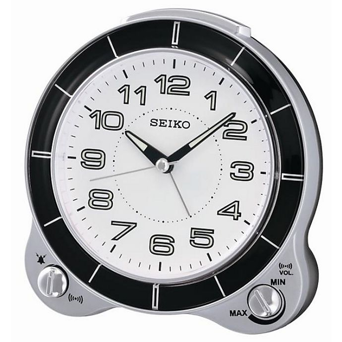 Alternate image 1 for Seiko Quiet Sweep Alarm Clock in Silver in White/Black