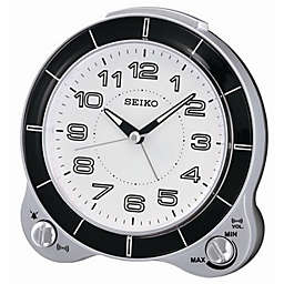 Seiko Quiet Sweep Alarm Clock in Silver in White/Black