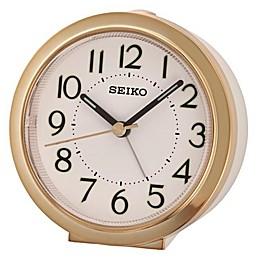 Seiko Bedside Alarm Clock in White/Gold