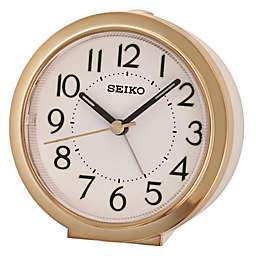 Seiko Bedside Alarm Clock in White/Gold