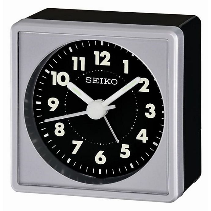 Alternate image 1 for Seiko Square Travel Alarm Clock in Black