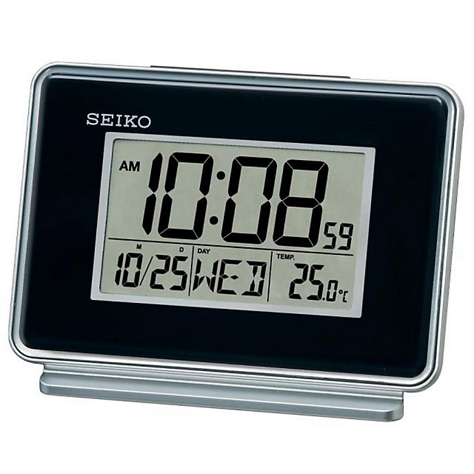 Alternate image 1 for Seiko Digital Bedside Alarm Clock in Black/Silver