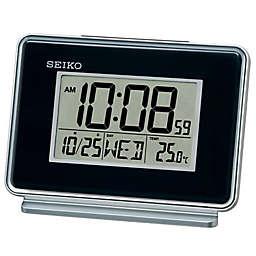 Seiko Digital Bedside Alarm Clock in Black/Silver