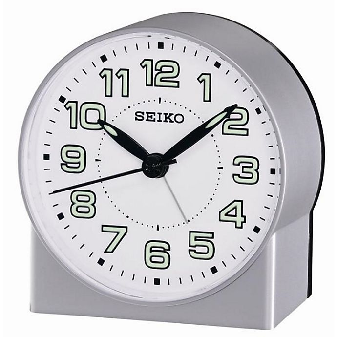 Alternate image 1 for Seiko Bedside Alarm Clock in White