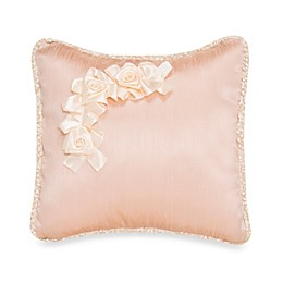 Glenna Jean Ribbons & Roses Faux Silk With Roses Pillow
