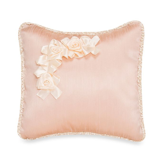 Alternate image 1 for Glenna Jean Ribbons & Roses Faux Silk With Roses Pillow