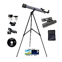 Galileo® 2-Piece F-650 Refractor Telescope & TS-821 Binocular Set in Grey
