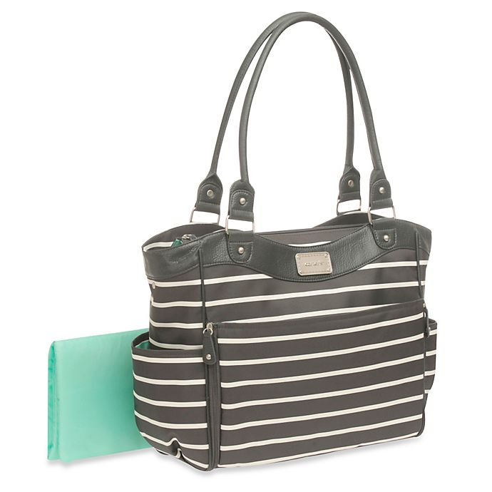 Alternate image 1 for carter's® Zip Down Changing Pad Diaper Bag in Grey/White