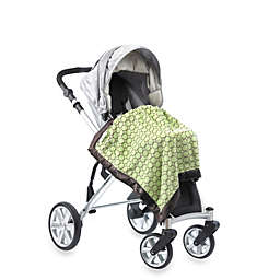 SwaddleDesigns® Stroller Blanket With Brown Mod Circles in Lime