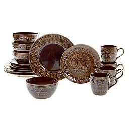Certified International Aztec 16-Piece Dinnerware Set in Brown