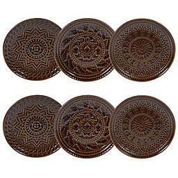 Certified International Aztec Canape Plates in Brown (Set of 6)