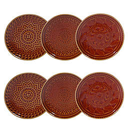 Certified International Aztec Canape Plates in Rust (Set of 6)