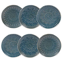 Certified International Aztec Canape Plates in Teal (Set of 6)
