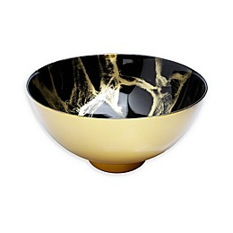 Classic Touch Trophy Black and Gold Marble Footed Bowl