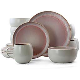 Elama Mocha Mauve 16-Piece Dinnerware Set