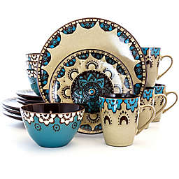 Elama Blue Clay Hart 16-Piece Dinnerware Set