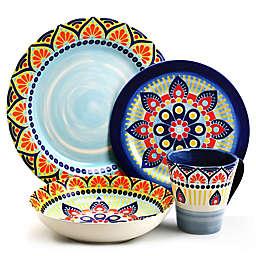 Elama Zen Mozaik Blue 16-Piece Dinnerware Set