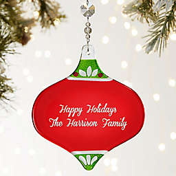 Holiday Message Personalized Metallic Red Ornament