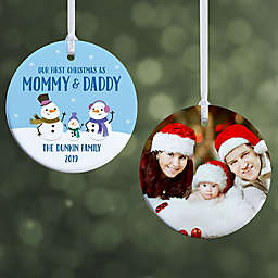 First Christmas as Parents Snowman 2.85-Inch Glossy 2-Sided Personalized Photo Ornament