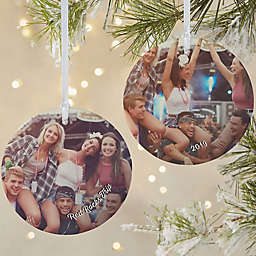 Vacation Photo Memories 3.75-Inch Matte 2-Sided Personalized Ornament