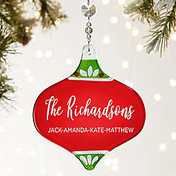 Family Christmas Personalized Metallic Red Ornament