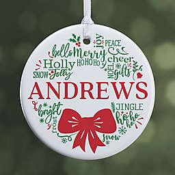 Merry Mistletoe Wreath 2.85-Inch Glossy Personalized Ornament