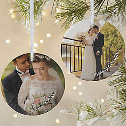 Wedding Photo Memories 3.75-Inch Matte 2-Sided Personalized Ornament