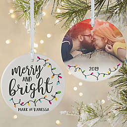 Merry & Bright 3.75-Inch Matte 2-Sided Personalized Ornament