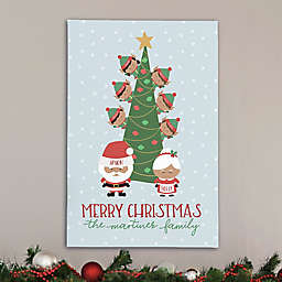 Holly Jolly Characters Personalized 24-Inch x 36-Inch Canvas Print