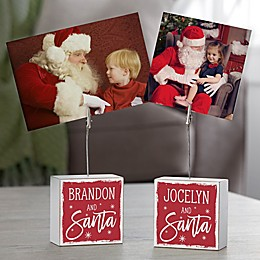 Picture With Santa Personalized Photo Clip Holder Block
