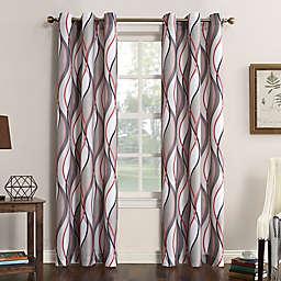 No.918® Intersect Ogee Print 63-Inch Grommet Top Window Curtain Panel in Nickel (Single)