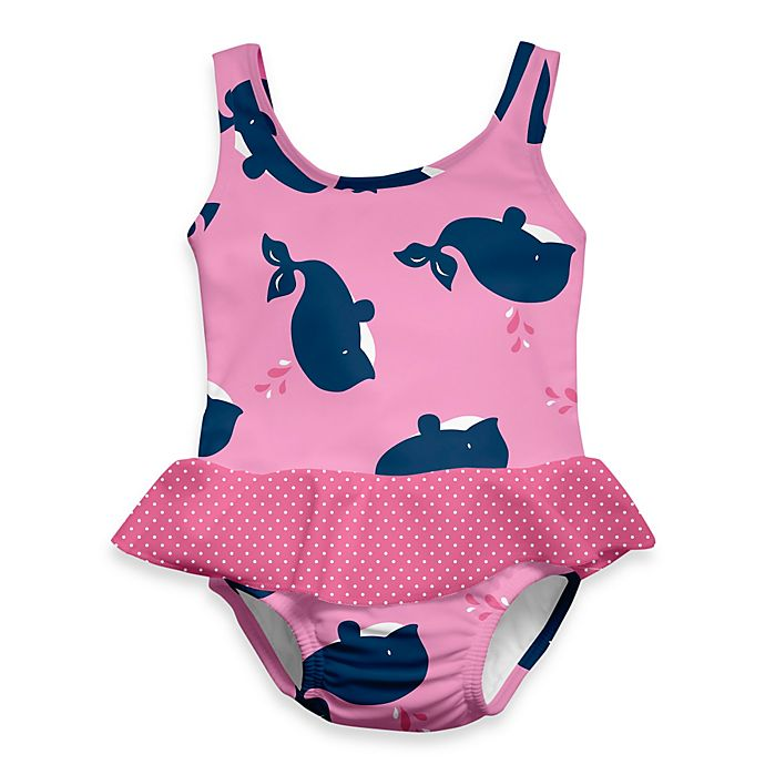 Alternate image 1 for i play.® Mod Ultimate Swim Diaper Whale 1-Piece Skirty Tanksuit in Pink
