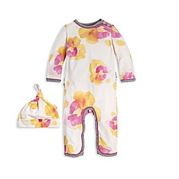 Burt's Bees Baby® Preemie 2-Piece Exploded Pansies Organic Cotton Coverall and Hat Set