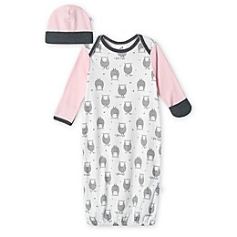 Just Born® Size 0-6M 2-Piece Lamb Organic Cotton Gown and Hat Set